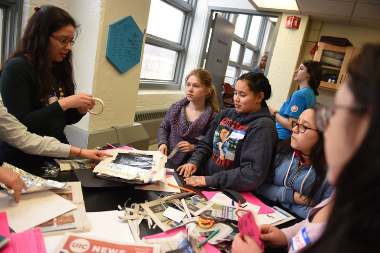 High school students at the MakerSpace