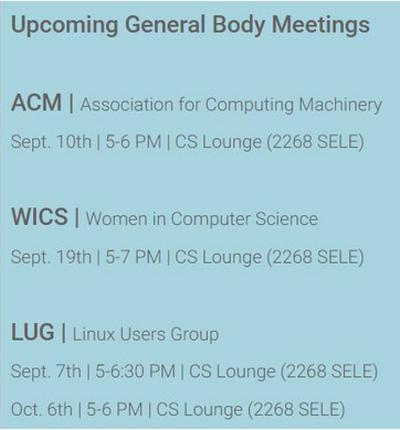 General Body Meeting Schedule