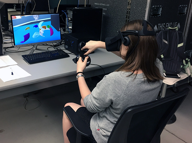 Student Using Virtual Reality System