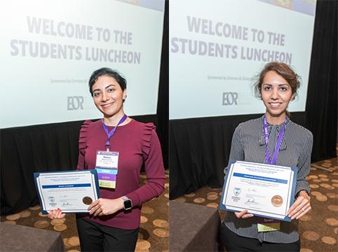 Mahsa Izadmehr and Morvarid Khazraee holding award certificates