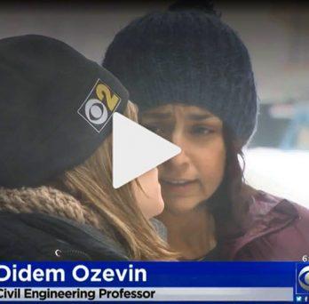 Professor Didem Ozevin talks with CBS reporter