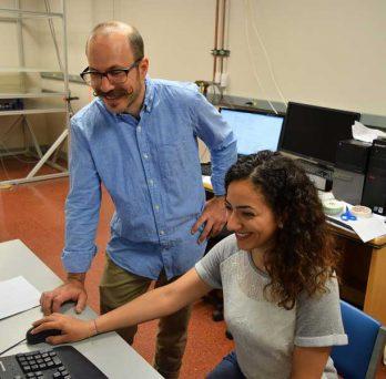Professor Berniker and student at lab