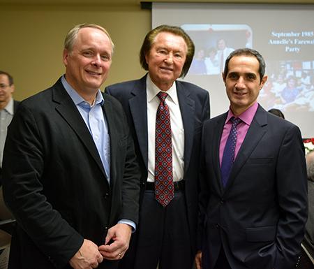 Professor Minkowycz with Professors Mashayek and Amirouche