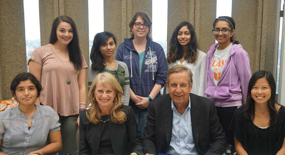 John and Susan Major with students