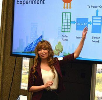 Student presents a solar energy process