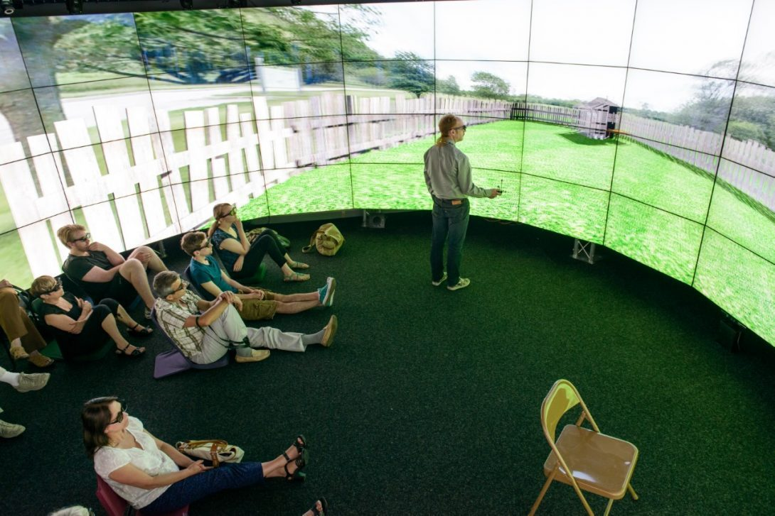 Audience viewing a virtual reality environment