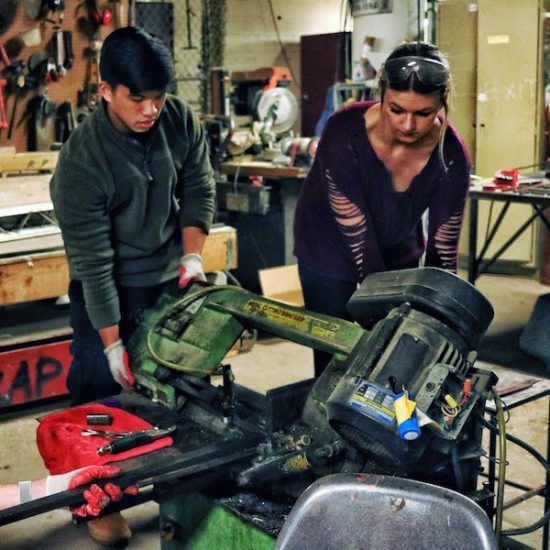 students working in shop