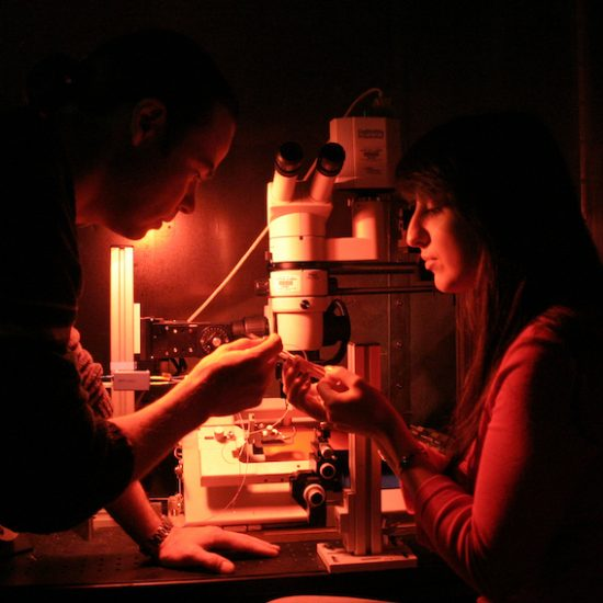 students preparing to use microscope