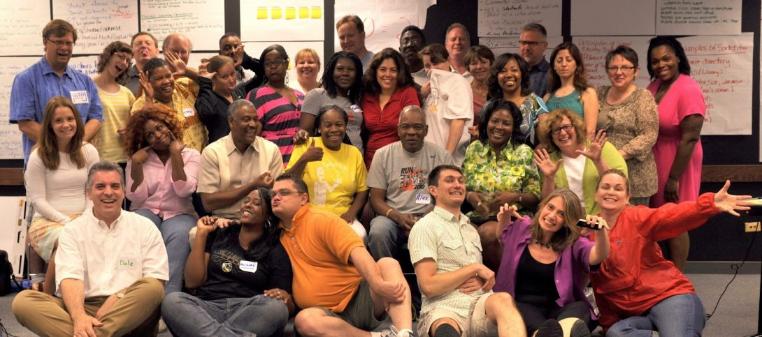 Dale Reed (front row, left) with Chicago Public Schools teachers at a computer science professional development session