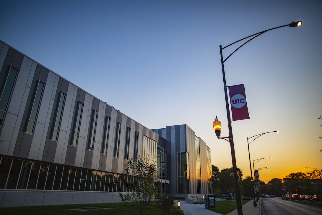 UIC Engineering Innovation Building at sunset