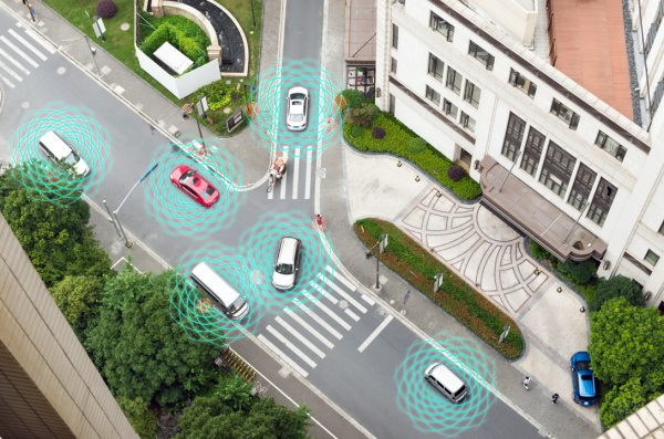 Illustration of driverless cars on the road