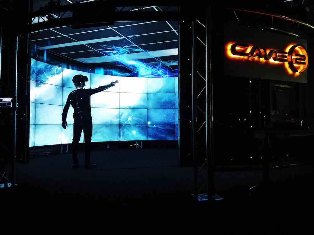 Italy program student Marco Cavallo in the Electronic Visualization Lab's CAVE 2
