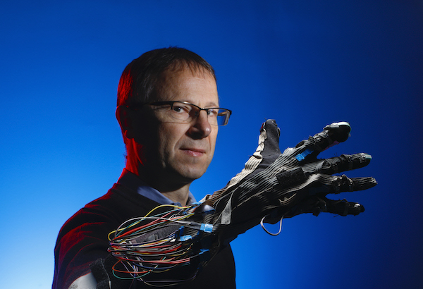 Professor Milos Zefran with robotic sensing glove