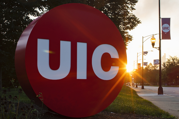 UIC logo sculpture at the corner of Morgan and Taylor Streets