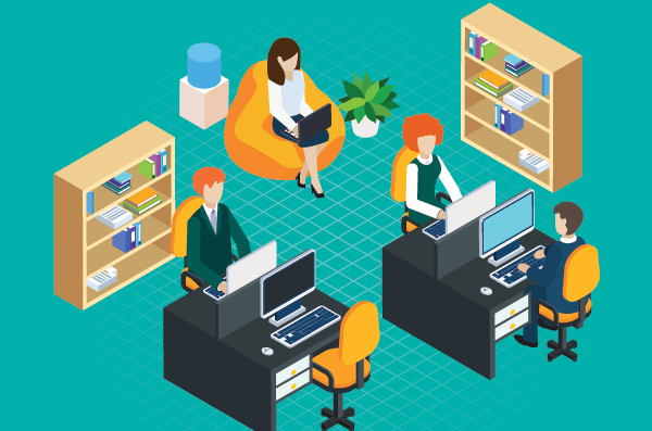illustration of student services workers at office desks