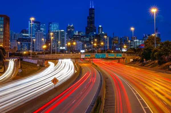 A view of the Chicago skyline from the expressway