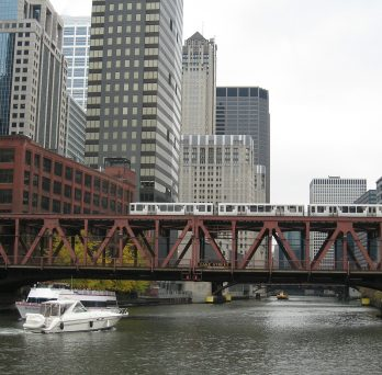 Chicago bridge with train running over it