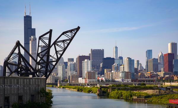 panorama of bridge and Chicago skyline