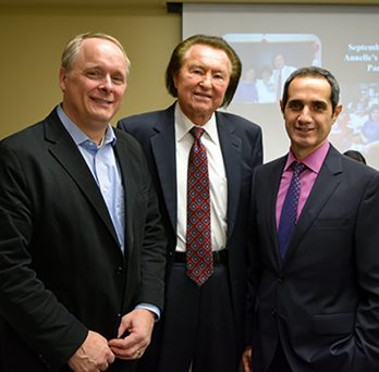Dean Peter Nelson, MIE Professor W.J. Minkowycz, and MIE Department Head Farzad Mashayek