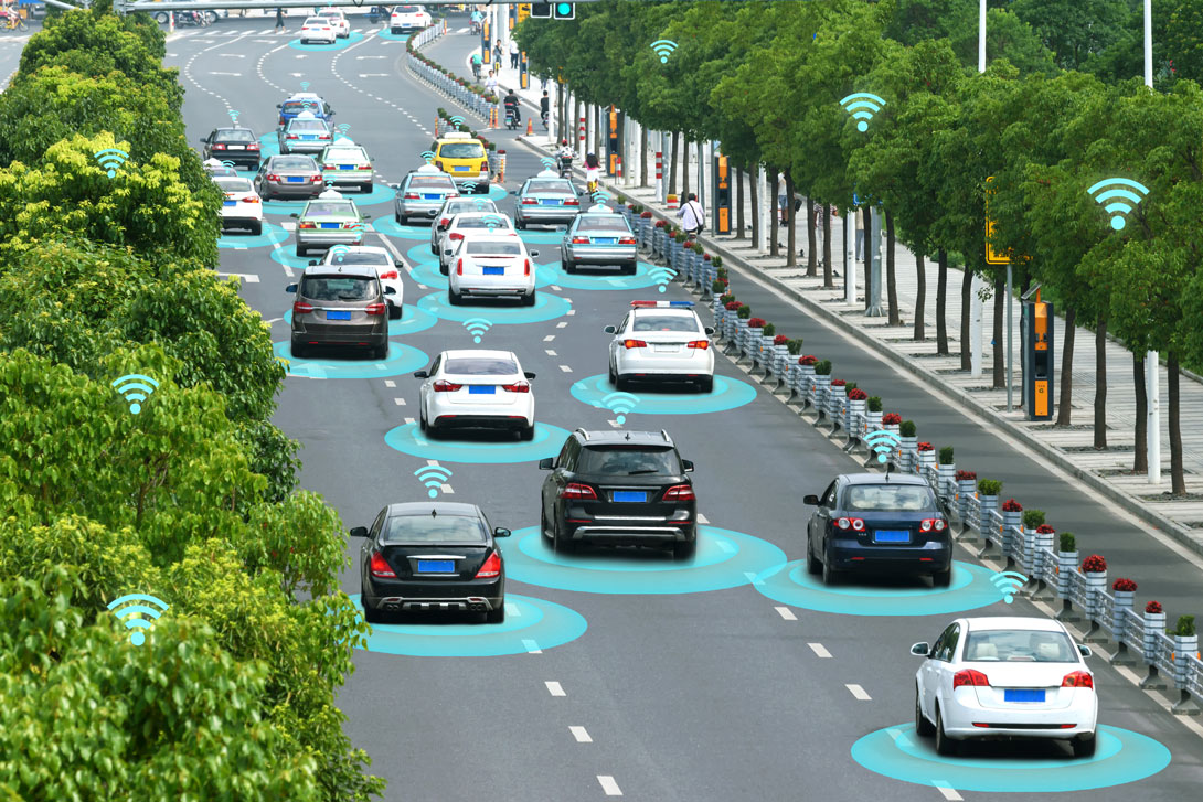 Smart car (HUD) and Autonomous self-driving mode vehicle on metro city road with graphic sensor signalf