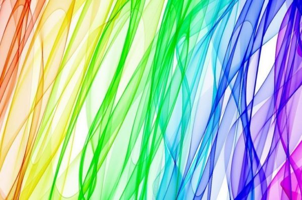 Graphic of rainbow strands in a solution